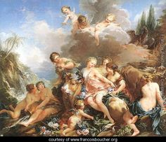 The Rape of Europa 1732-34 Francois Boucher   - Perhaps the most voluptuous painting ever created.  And one of the paintings that made me realize that nudity and erotica were entirely acceptable in the 18th century, as long as the nude and erotic figures were mythological gods and goddesses.  So much more civilized than today.