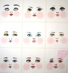 Artistic cloth doll faces ready to sew fabric panel white A2W