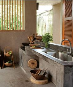 Basic Kitchen Area Concepts For Inside or Outside Kitchen areas – Outdoor Kitchen Designs Kitchen Interior, Kitchen Decor, Rustic Kitchen, Bar Interior, Diy Kitchen, Interior Design, Concrete Kitchen, Concrete Patio, Outdoor Kitchen Design