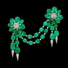 'Les Ferrets De La Reine' An Exceptional Emerald And Diamond Devant De Corsage B...