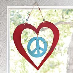 Peace With Love - Jes MaHarry - painted steel, leather cords and trade beads I Love Heart, Peace And Love, Hippie Love, Hippie Art, Hippie Chic, Hippie Style, Give Peace A Chance, Love Messages, Hanging Art