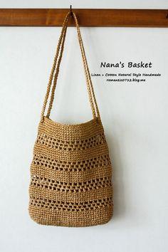 스트라이프 네트백 : 코바늘 뜨개 가방 : 네이버 블로그 Cute Crochet, Crochet Crafts, Knit Crochet, Sisal, Chunky Knitting Patterns, Crochet Patterns, Crochet Mobile, Best Tote Bags, Boho Bags