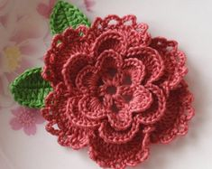 Larger Crochet Flower in 3-1/2 inches YH-042 by YHcrochet on Etsy