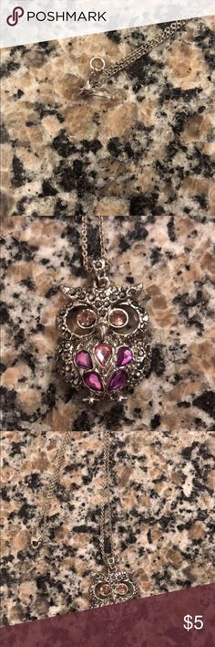 Owl necklace NWOT Purple gem owl necklace. Perfect condition. Jewelry Necklaces