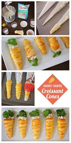 Adorable Carrot-Shaped Croissant Cones for Easter . Adorable Carrot-Shaped Croissant Cones for Easter Easter Appetizers, Appetizers For Party, Appetizer Recipes, Appetizer Ideas, Recipes Dinner, Croissant, Easter Recipes, Holiday Recipes, Easter Ideas