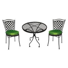 DC America Charleston Wrought Iron Ice Cream Set with One Table and Two Chairs with 2 Green Cushions Patio Furniture Sets, Garden Furniture, Outdoor Furniture, Office Furniture, Patio Table, Patio Chairs, Green Cushions, Chair Cushions, Iron Table