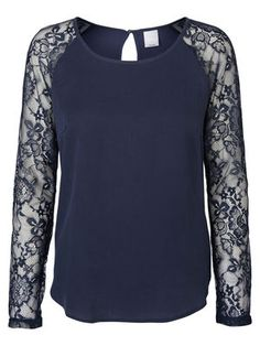 LACED LONG SLEEVED BLOUSE, Black Iris