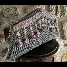 Purse,Purse bag, Evening bag, Grey, Crystals,Pon pon, Crochet purse bag, Knitting patern, Christmas gift, Women's tote bag, Round purse bag by FeMiGR on Etsy