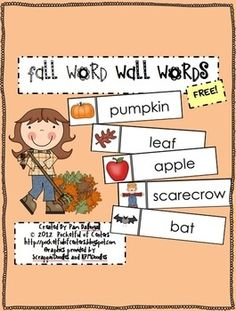 Weekly Freebie: FREE Word Wall Resource fromPocketful of Centerson TpT Fall Word Wall Words