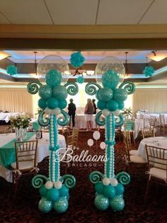 Love the turquoise and white balloons and how they are styled. Ballon Decorations, Balloon Centerpieces, Love Balloon, Balloon Arch, Balloon Pillars, Deco Ballon, Balloons Galore, Balloons And More, White Balloons