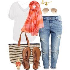 Plus Size - Double Stripes by alexawebb on Polyvore #plussize #plussizefashion #PolyvorePlus #outfit #alexawebb https://www.facebook.com/alexawebbfashion