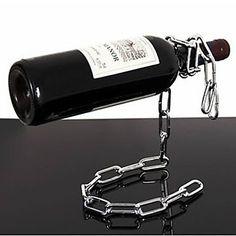 suporte para garrafa de vinho rack flutuante estilo cadeia – BRL R$ 45,68