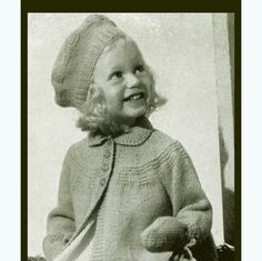 PDF Vintage 1950s Patons & Baldwin Girls Matinee Coat and Jaunty Beret Knitting Pattern, Cute, Heirloom, Antiquex