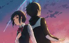 Anime Your Name.  Mitsuha Miyamizu Taki Tachibana Kimi No Na Wa. Fondo de Pantalla