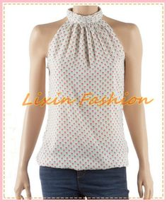 impreso de la mujer blusa con escote halter smocked blusa