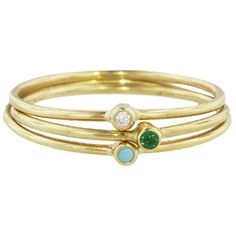 Jennifer Meyer Turquoise Emerald Diamond Spring Ring Stack - Yellow... ($525) ❤ liked on Polyvore featuring jewelry, rings, yellow gold rings, gold turquoise ring, diamond rings, emerald ring and stackable rings