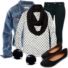 """Denim 'n Dots"" by qtpiekelso on Polyvore"