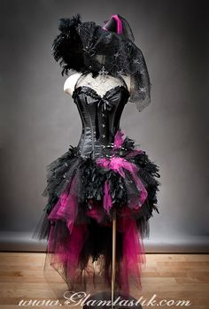 Feather Burlesque Corset Witch costume with Hat | Adult Costumes