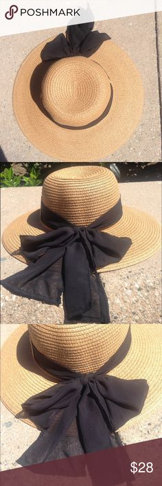 Paper braid straw crushable hat with black scarf Packable, great sun protection, one size fits all, comes with black scarf but it can be interchangeable. 4 inch brim.  Size reducing band can be included fee of charge.  Please notify in comments upon purchase.  Great for summer, beach, all occasions Accessories Hats