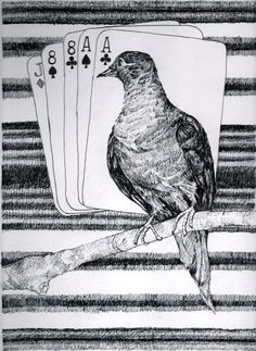 """Ron Laboray-""""We see an example of the First Phase of Navajo blankets, the dead man's hand and then the last Passenger Pigeon placed within their appropriate time relationship using the Law of Superposition."""" Image 11.5""""x8.5"""" Acid free ink on 11x14"""" Bristol paper. 2016"""