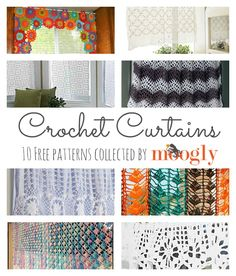 It's curtains for this roundup! Don't worry, it's just beginning – and it's chock full of 10 free crochet curtain patterns! Perfect for reinvigorating your home for the coming season! Crochet Curtain Pattern, Crochet Curtains, Floral Curtains, Curtain Patterns, Crochet Patterns, Roman Curtains, Patterned Curtains, Layered Curtains, Purple Curtains