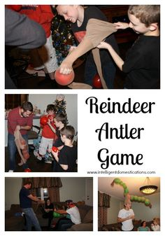 How to play the Reindeer Antler Game! Reindeer Antler Game also known as the pantyhose and balloon game! Fun Christmas Party Games, Xmas Games, Holiday Games, Adult Christmas Party, Christmas Games For Children, Minute To Win It Games Christmas, Christmas Potluck, Abc Games, Christmas Appetizers
