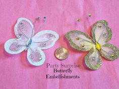 Gold White Butterfly Embellishments Wedding by PartySurprise