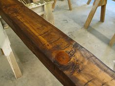 Faux beams for garage. Glazing brings out the tool marks and irregularities in the surface. How To Antique Wood, Old Wood, Rustic Wood, Salvaged Wood, Wood Projects, Woodworking Projects, Fine Woodworking, Faux Wood Beams, Hand Hewn Beams