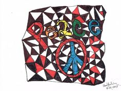Peace Pencil & markers copy paper small original art abstract #Abstract