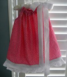 Toddler Girl Summer Dress Pillowcase Pink Polka Dot with White Ruffle  $32