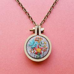 Embroidered Necklace. Flower Garden Mini Hoop Necklace. Hand Embroidery. Jewelry. Flower Embroidery. Wearable Art. Hoop Art. Floral Charm.