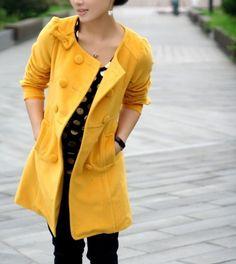 mustard yellow fall coat