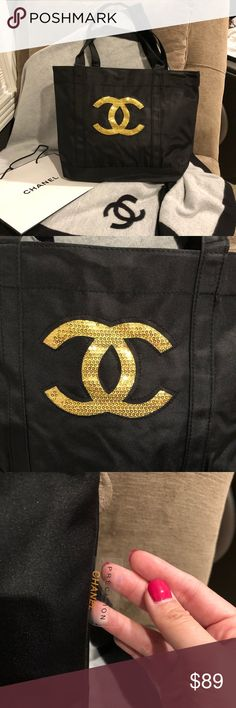Authentic NWOT Chanel Golden Sequin Makeup Bag Authentic NWOT Chanel Golden Sequin Tote Shopping Bag!  100% authentic received from Chanel Beaute Counter after purchase over $$$ at Precision product line.  Size: 42cm*30cm*12cm Lots of room, great for daily use! Very practical & Pretty.  Golden Sequin Chanel Logo at front, button closure on top. Nylon material.  Golden Sequin ones are VERY RARELY giving from Counter. Very bling bling, unique, ONLY ONE I have. Price Firm, listed lowest as…