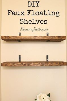 I love how much character these shelves bring to my small bathroom. This is an easy, inexpensive weekend DIY project. EASY, and INEXPENSIVE, DIY Faux Floating Shelves! Finally you can have the look of floating shelves with so much less work! Moderne Couch, Decoration Palette, Floating Shelves Diy, Glass Shelves, Small Shelves, Diy Wall Shelves, Corner Shelves, House Shelves, Bookshelf Diy