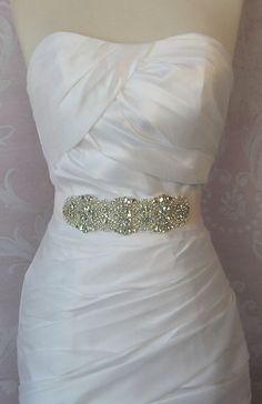 "Pale Ivory Rhinestone & Pearl Sash, Diamond White Wedding Belt, Crystal Bridal Sash, 7"" of Rhinestones - DITA"