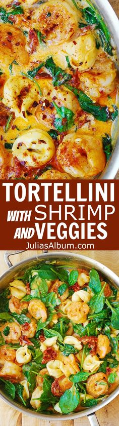 Tortellini with Shrimp and Veggies - spicy shrimp smothered in a creamy Mozzarella cheese sauce with sun-dried tomatoes and spinach! I used refrigerated cheese-filled tortellini and large raw shrimp. Tortellini Bake, Tortellini Recipes, Pasta Recipes, Dinner Recipes, Cooking Recipes, Cheese Tortellini, Dinner Ideas, Paleo Pasta, Kochen