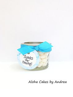 Baby Shower Favor, Its A Boy Mason Jar, Candy Jar, Thank You Gift, Blue and White, Turquoise Baby Shower, Set of 4 via Etsy