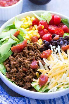 20 Minute Healthy Taco Salad With Lean Ground Beef, Salt, Pepper, Taco Seasoning, Water, Romaine Lettuce, Black Beans, Corn, Cherry Tomatoes, Shredded Cheddar Cheese, Avocado, Salsa, Plain Greek Yogurt