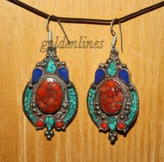 Coral earring Turquoise Earring Tibetan Earring by goldenlines