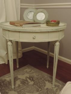 Annie Sloan Chalk Paint Side Table in Old White.  Super Shabby Chic.  $275