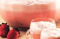 Luscious Strawberry Party Punch:    1 (48-ounce) bottle (or 6 cups)  Cran•Strawberry® Cranberry Strawberry Juice Drink, chilled, 2 quarts strawberry ice milk or ice cream, softened, 2 cups frozen strawberries, thawed, 2 (12-ounce) cans lemon-lime soda, chilled.