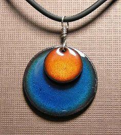 Orange and Blue Copper Enamel handmade necklace by Steinvika, $29.00