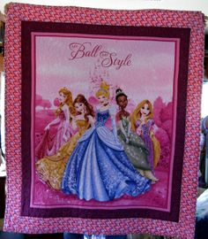 This is the perfect gift for daddy's little princess.  Measuring 44x38, it depicts every little girls wish to be a princess.  A beautiful lap quilt.