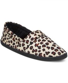 Charter Club Microvelour Memory Foam Slippers, Only at Macy's - Leopard
