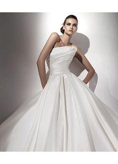 Beautiful Ball Gown Satin Natural Waistline Strapless Wedding Dress