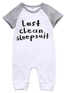 Baby LAST CLEAN SLEEPSUIT Short Sleeve Cotton Rompers Toddler Funny Bodysuits Overalls 1218M *** Read more reviews of the product by visiting the link on the image.