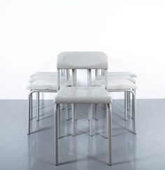 Ettore Sottsass one of Seven Greek Chairs Grey Bieffeplast, Italy, 1980. Light grey chairs made from lacquered tubular steel and plastic seat and backrest. They are labeled Bieffeplast. 4 pieces are in very good condition with no issues besides wear of aging and minimal scratches; 3 chairs have small issues that do not limit their function or beauty; 2 chairs have chips at one side, another one shows a crack at the far end of the seat that does not limit the comfort. Sold and priced per…