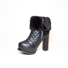 "Jessamine!  Dress up your ensemble with moto chic style in these leather ankle #boots. With quilted detailing and faux fur trim, these platform booties are the perfect heels to take your look to the next level!  Find ""Jessamine"" at www.steam-boots.ca"