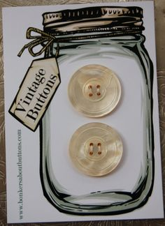 Set of 2 Antique Mother of Pearl Buttons by bonkersaboutbuttons, £3.00