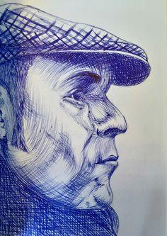 Libro de artista Sara. Encuadernación artesanal, tamaño A5. Retrato boli Bic azul